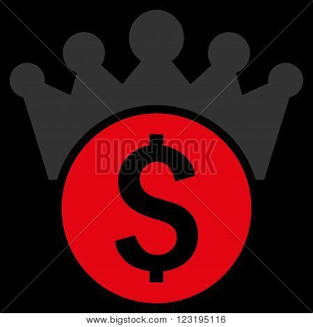 Financial Power vector icon. Style is flat symbol, red color, black background.