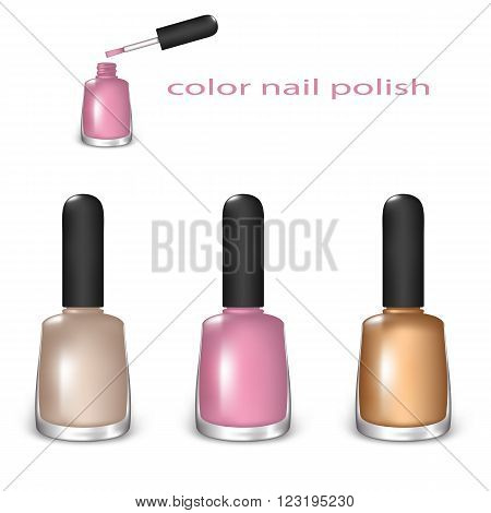 Set of Color Nail Polish. Beige, Light Pink and Gold Color on a White Background. Mesh Gradient and Transparency was Used. EPS-10.