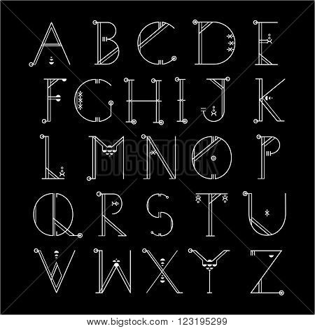 Vector linear font - simple alphabet in mono line style. Uppercase typography design elements.Thin line iconographic flat letters. English modern font