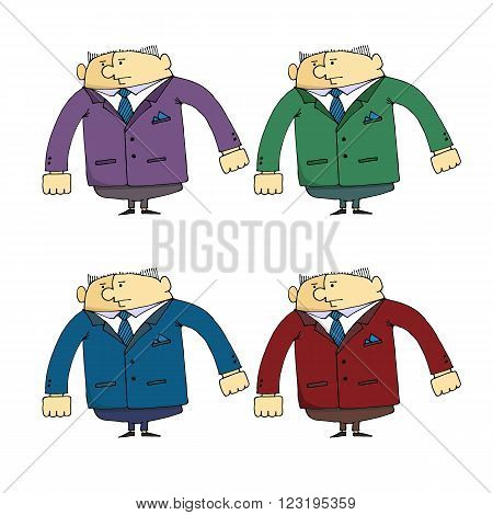 Vector illustration cartoon character A set of caricatures of the employee of security guard in different clothes design web sites promotional products printed materials