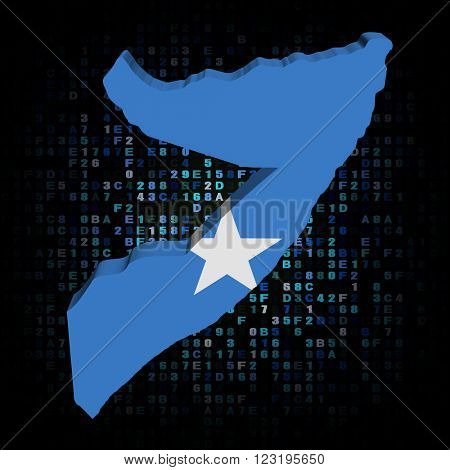 Somalia map flag on hex code illustration