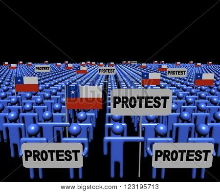 Crowd of people with protest signs and Chilean flags illustration