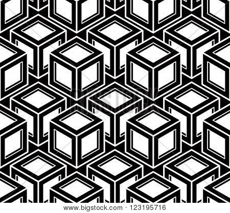 Geometric seamless pattern endless black and white vector regular background. Abstract covering with 3d superimpose figures.