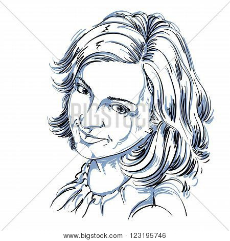 Hand-drawn vector illustration of beautiful happy and pleased woman. Monochrome image positive expressions on face of young lady.