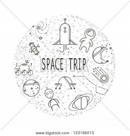 Circle with icons filled in simple forms. Space travel. Space icons modern line style vector. Cosmos icons isolated black background. Space series. Space exploration and adventure symbol.