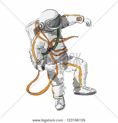 astronaut floating in space - the logo is made in a cartoon style outline and fill color isolated on white background. Space series. The space exploration and adventure a symbol