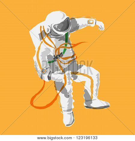 astronaut floating in space - the logo is made in a cartoon style no outline color isolated on orange background. Space series. The space exploration and adventure a symbol