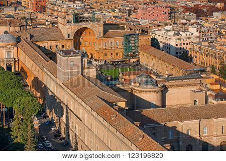 Aerial view of Vatican City and Rome, Italy in the sunset