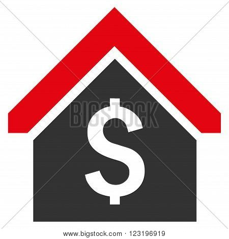 Loan Mortgage vector icon. Style is flat symbol, red color, white background.