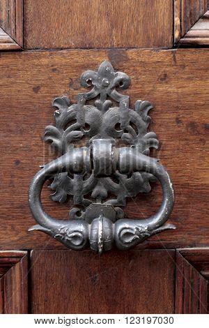 Detail view of historic iron door knocker
