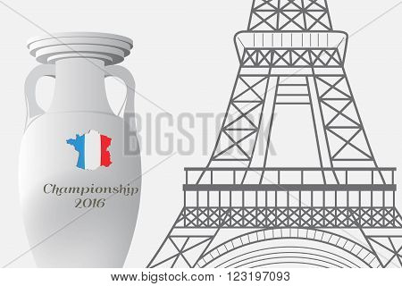 The 2016 UEFA European Championship.  France. Template with cup of Championship and the Eiffel Tower