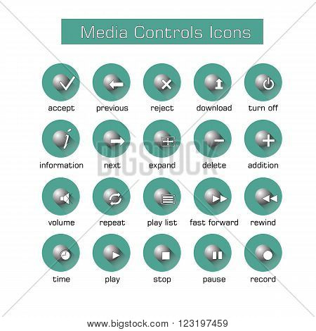 Media controls icons set with black shadows