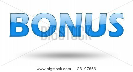 Text BONUS with blue letters and shadow. Illustration, isolated on white
