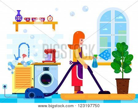 Vector illustration housewife woman with wiper in the kitchen. Flat style illustration.
