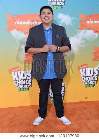 LOS ANGELES - MAR 12:  Rico Rodriguez arrives to the Nickeloden's Kid's Choice Awards 2016  on March 12, 2016 in Hollywood, CA.