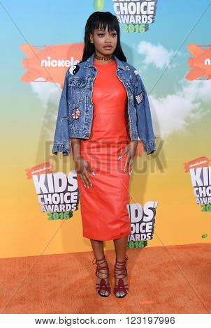 LOS ANGELES - MAR 12:  Keke Palmer arrives to the Nickeloden's Kid's Choice Awards 2016  on March 12, 2016 in Hollywood, CA.