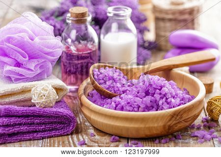 lavender spa set with sea salt and toiletries ** Note: Shallow depth of field