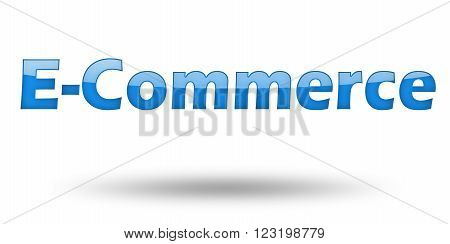 Text E-Commerce with blue letters and shadow. Illustration, isolated on white