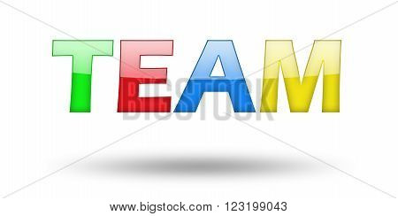 Text TEAM with colorful letters and shadow. Illustration, isolated on white