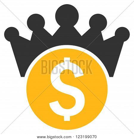 Financial Power vector icon. Style is flat symbol, yellow color, white background.