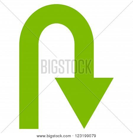 U Turn vector icon. Style is flat icon symbol, eco green color, white background.