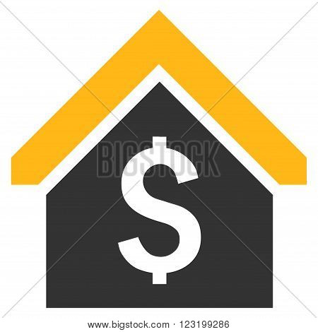 Loan Mortgage vector icon. Style is flat symbol, yellow color, white background.
