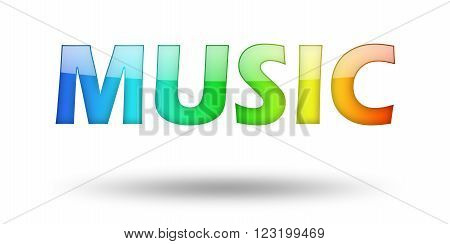 Text MUSIC with colorful letters and shadow. Illustration, isolated on white