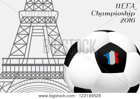The 2016 UEFA European Championship.  France. Ball with country's borders flag colors and the Eiffel Tower.