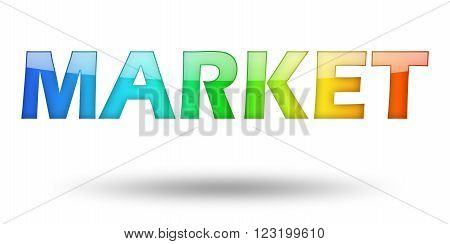 Text MARKET with colorful letters and shadow. Illustration, isolated on white