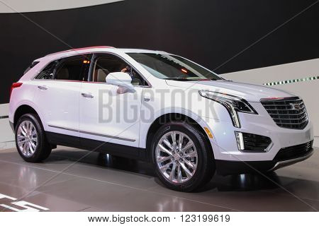 NEW YORK - March 23: A Cadillac XT5 exhibit at the 2016 New York International Auto Show during Press day,  public show is running from March 25th through April 3, 2016 in New York, NY.