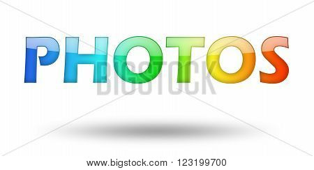 Text PHOTOS with colorful letters and shadow. Illustration, isolated on white