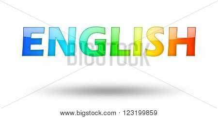 Text ENGLISH with colorful letters and shadow. Illustration, isolated on white