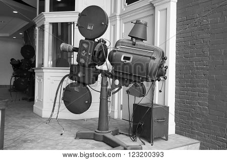 Black and White of an Antique Carbon Arc Movie Projector used during the early days of motion picture theaters