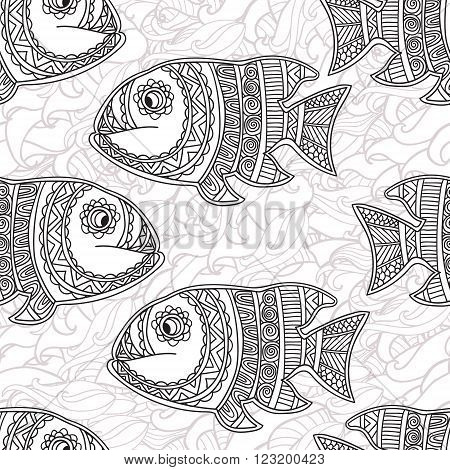 Coloring pages for adult. Coloring book. Seamless abstract hand-drawn ornamental fish with waves pattern. Zentangle ornamental fish background. Doodl  style.