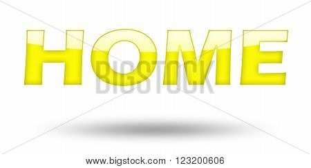 Text HOME with yellow letters and shadow. Illustration, isolated on white