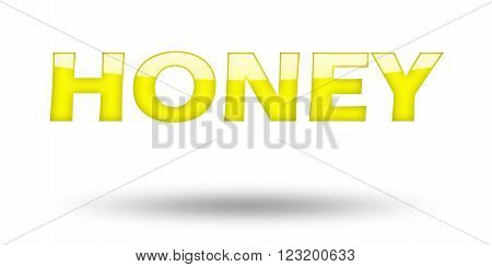 Text HONEY with yellow letters and shadow. Illustration, isolated on white