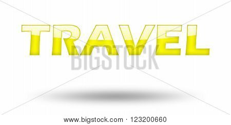 Text TRAVEL with yellow letters and shadow. Illustration, isolated on white