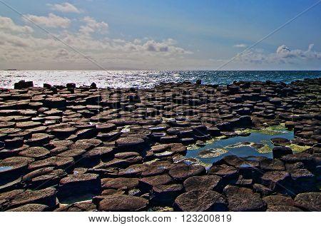 Giants Causeway Basalt Block Tidal Pool