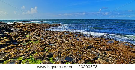 Giants Causeway Hexagon Basalt Blocks leading down to the sea in Northern Ireland on the Irish Coast