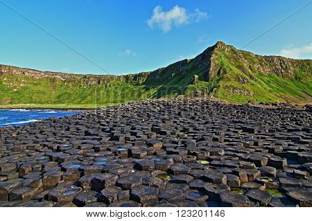 Giants Causeway Basalt Stepping Stones Columns leading down to the sea along the Northern Irish Coastline