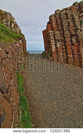 Giants Gate at Giants Causeway in Northern Ireland along the Irish Coast