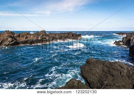 Azores coastline landscape in Flores island. Portugal