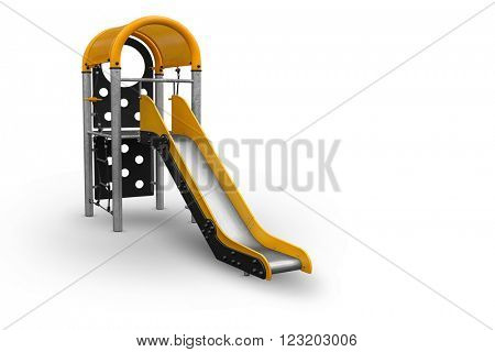 Playground for childrens -Childrens Slide isolated with clipping path