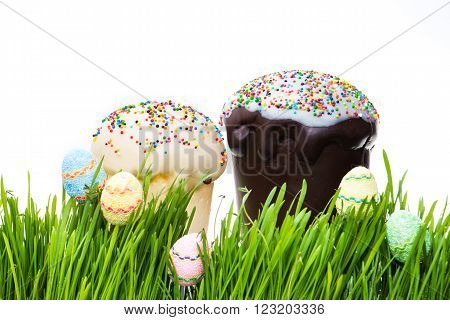 Easter Cake And Easter Egg Hiding In The Grass