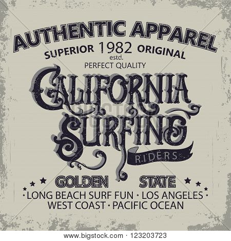 Surfing t-shirt graphic design. Hand lettering California surfers wear typography emblem. Creative design. Vector