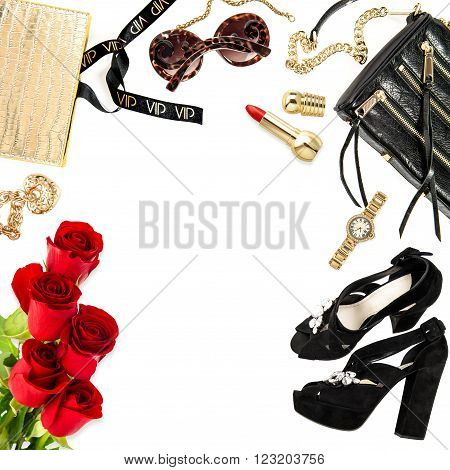 Fashion lady website concept. Accessories cosmetics jewelry and flowers