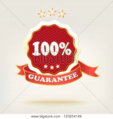 realistic red.  labels with shadows. text one hundred percent.vector illustration