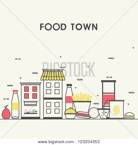 Modern flat style illustration of Local Food Stores of Small City, town façade with various Groceries and Sweets, Can be used as web banner, hero image and website slider.