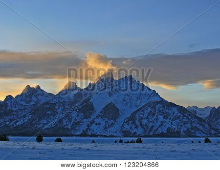 Grand Tetons Lenticular Cloud Twilight Sunset in Grand Tetons National Park in the state of Wyoming USA