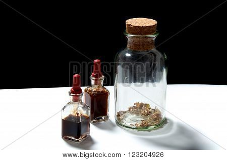 Glass Bottles With Herbal Extracts Oils